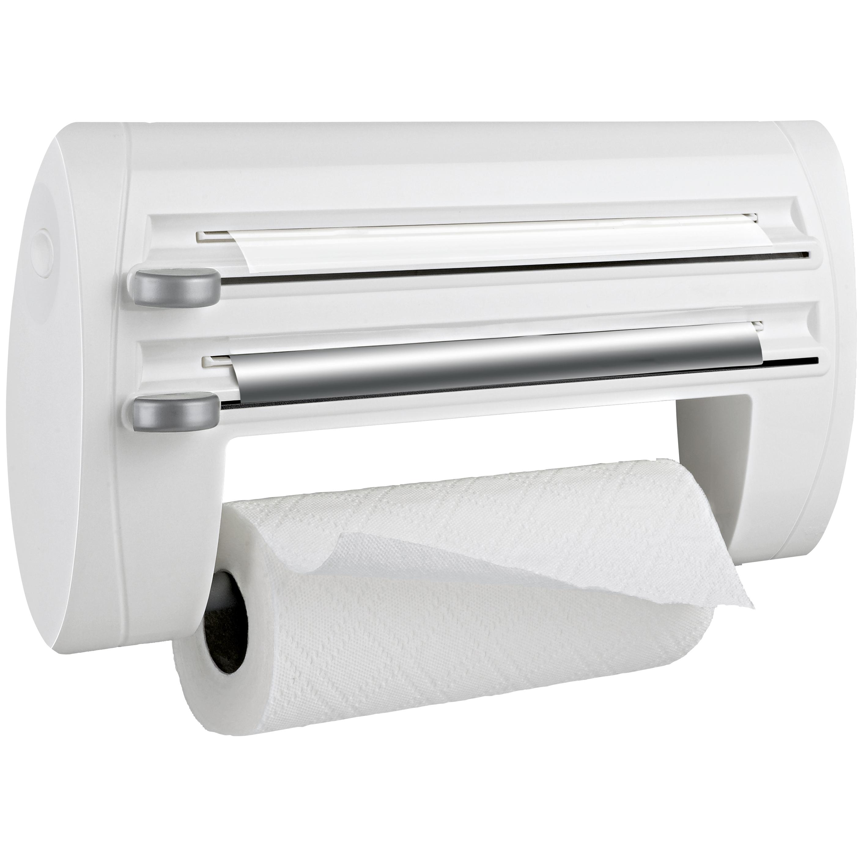 EMSA 500803 SUPERLINE 3-fach-Schneidabroller Weiß 40cm inkl. Alu-, Frischhaltefolie und Küchenrolle - auch für extra-breite Rollen