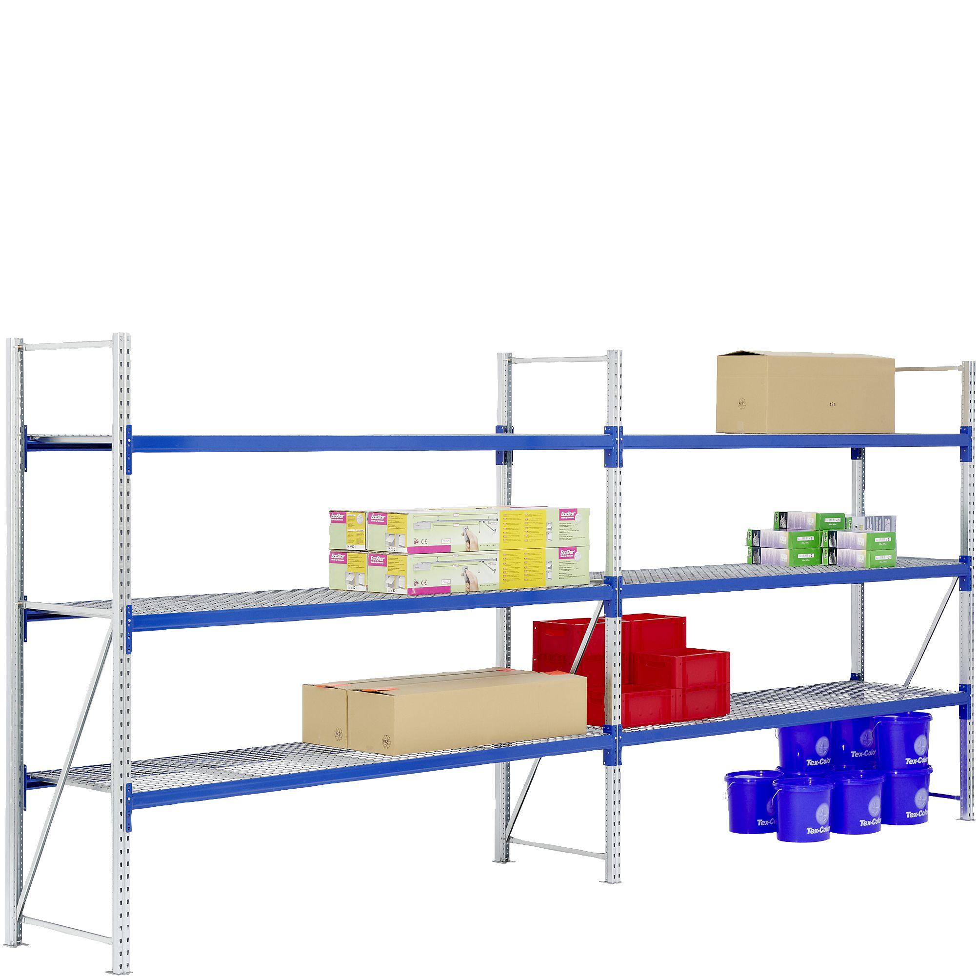 Weitspannregal Set / F2 2000x 600 x700 G-/A-Feld 3Ebenen Gitterböden  RAL5010