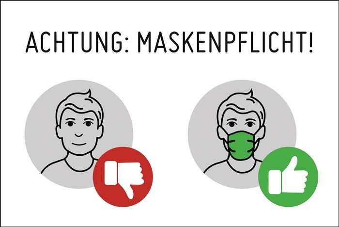 Achtung Maskenpflicht! Hintergrund weiß