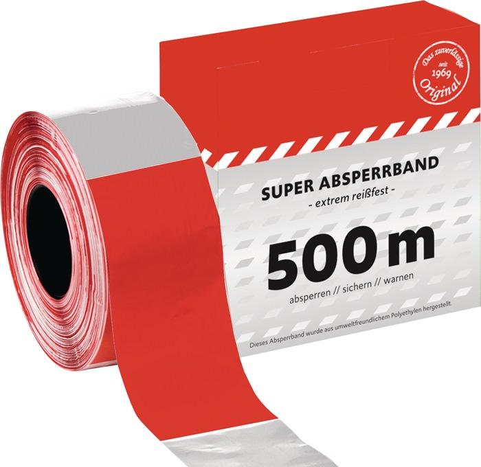 Absperrband L.500 m B.80mm rot/weiß