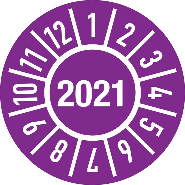 Einjahresprüfplakette D.15mm Jahr 2021