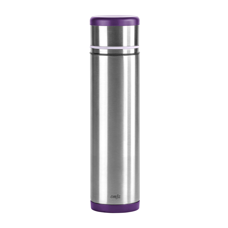 EMSA 509228 MOBILITY Isolierflasche 1,0 L Edelstahl brombeer/violett - SAFE LOC-Verschluss - 100% dicht - hält 12h heiß, 24h kalt