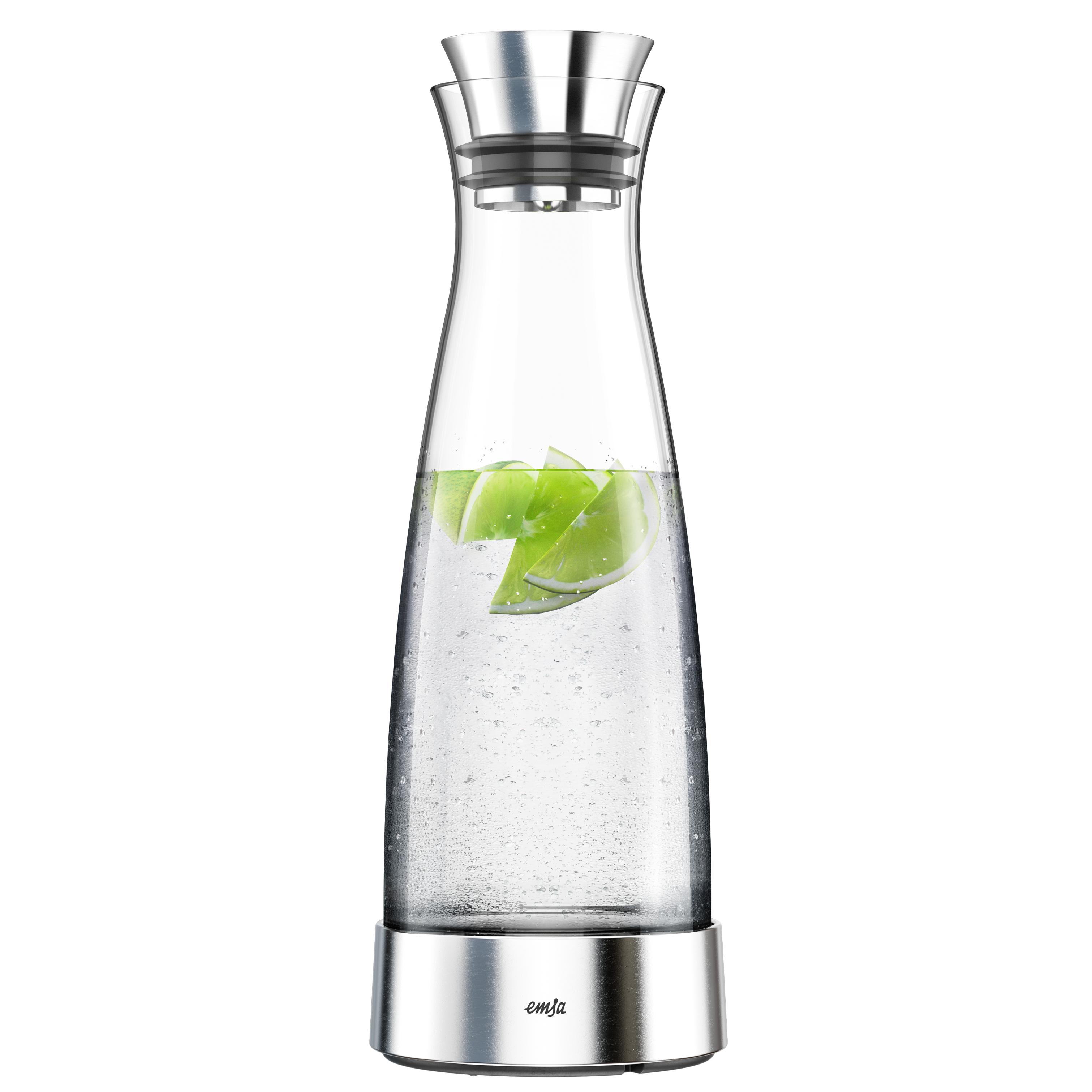 EMSA 515668 FLOW CLASSIC Kühlkaraffe 1,0 L aus Glas mit Edelstahl - hält 4 h kalt