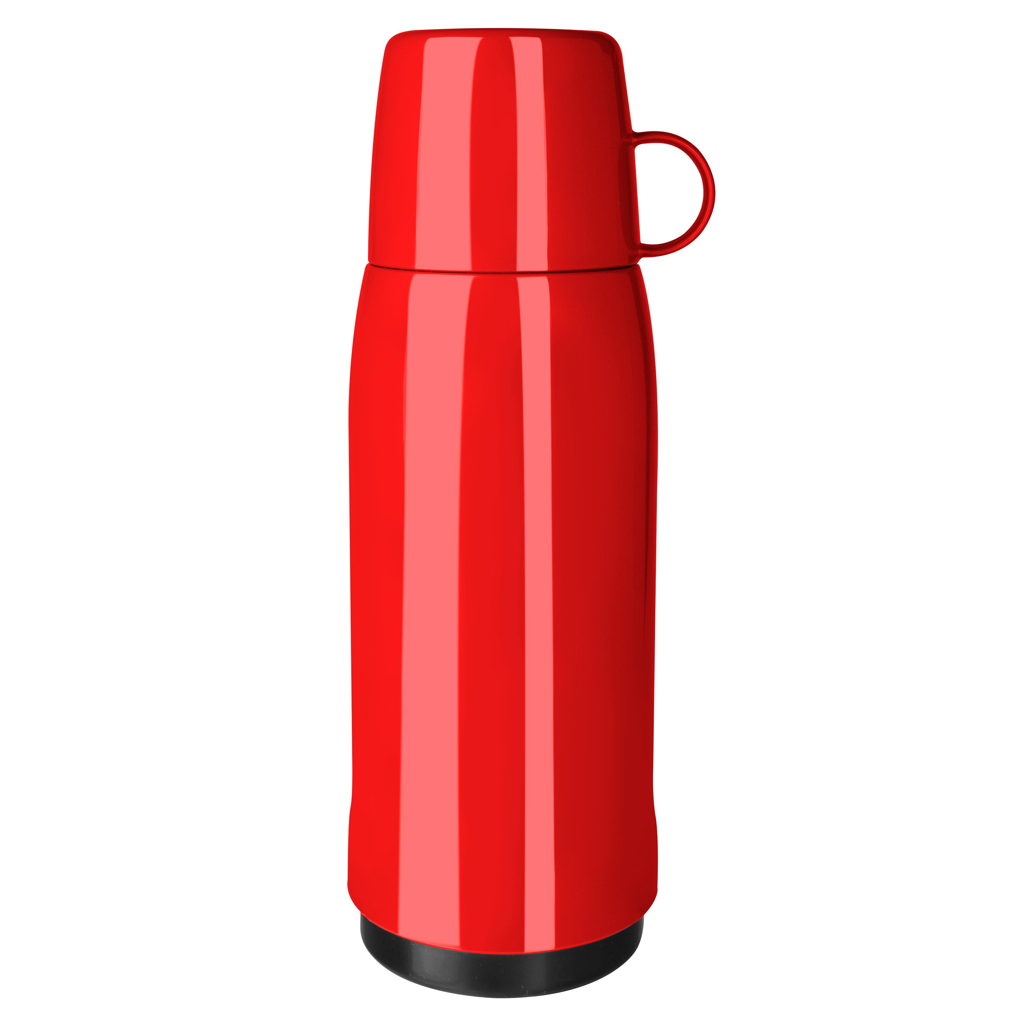 EMSA 502447 ROCKET Isolierflasche 0,75 L Schraubverschluss Rot - mit Becherdeckel - 100% dicht