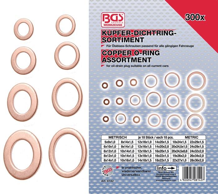Kupferdichtringsortiment 300-teilig BGS