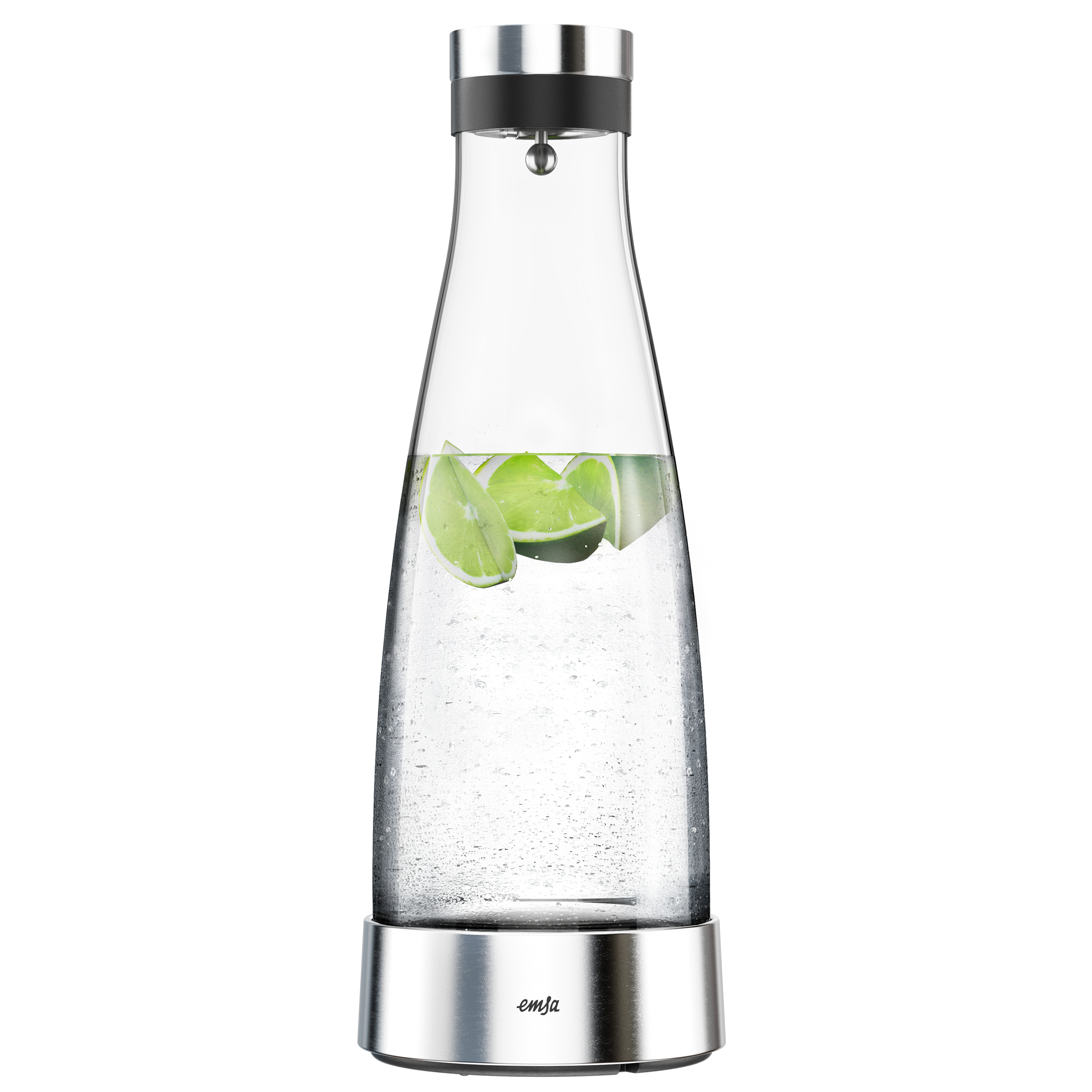 EMSA 515667 FLOW BOTTLE Kühlkaraffe 1,0 L aus Glas mit Edelstahl - hält 4 h kalt