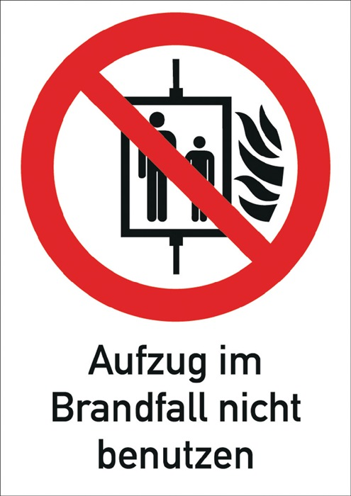 Folie Aufzug i.Brandfall nicht benutzen