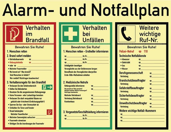 Alarm-/Notfallplan ASR A1.3/DIN