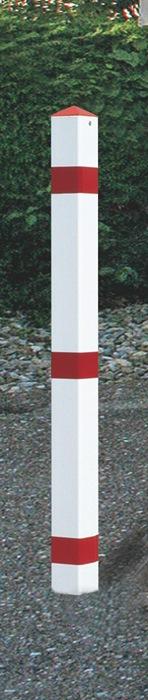 Sperrpfosten STA rot-weiß m.Bodenhülse