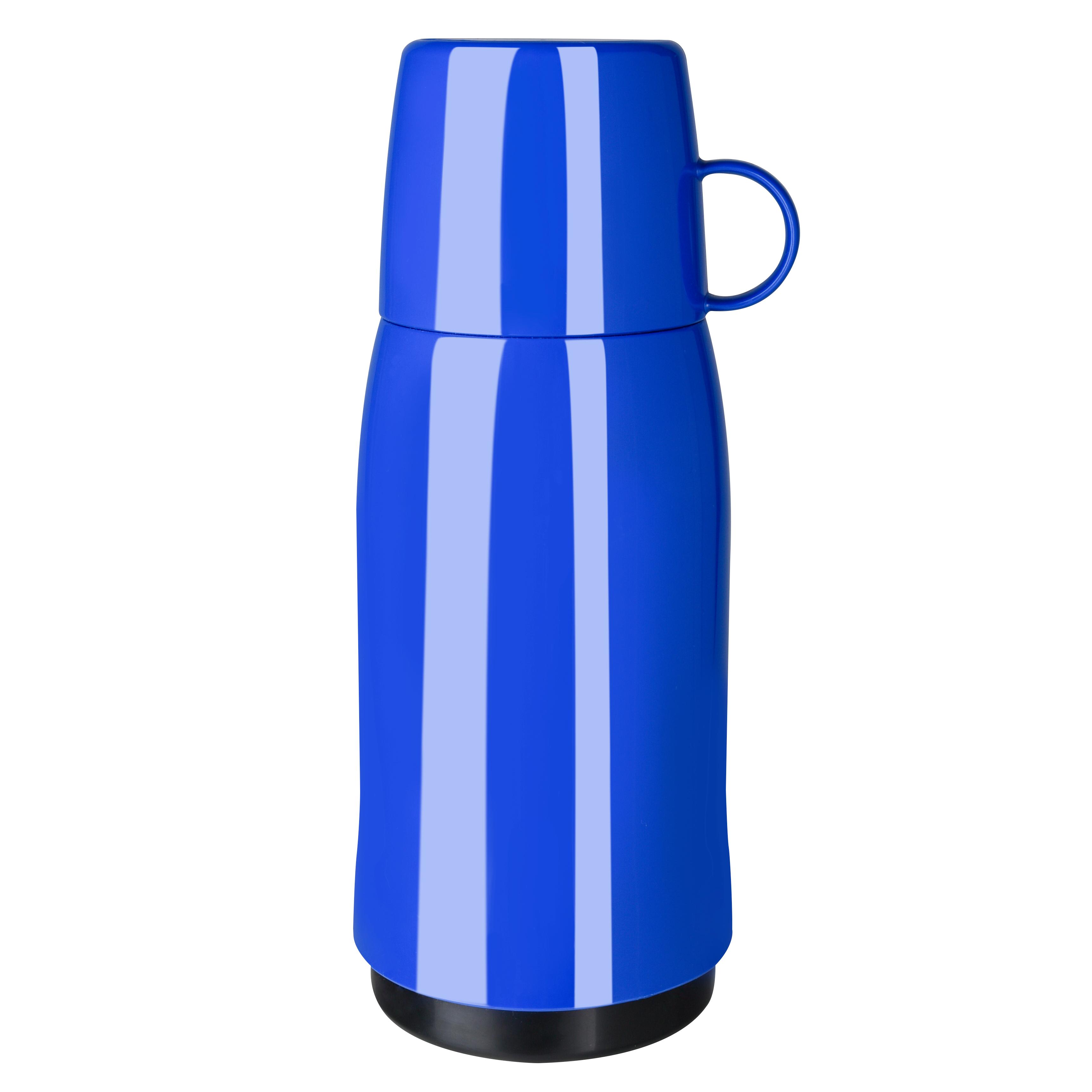 EMSA 502442 ROCKET Isolierflasche 0,5 L Schraubverschluss Blau - mit Becherdeckel - 100 % dicht