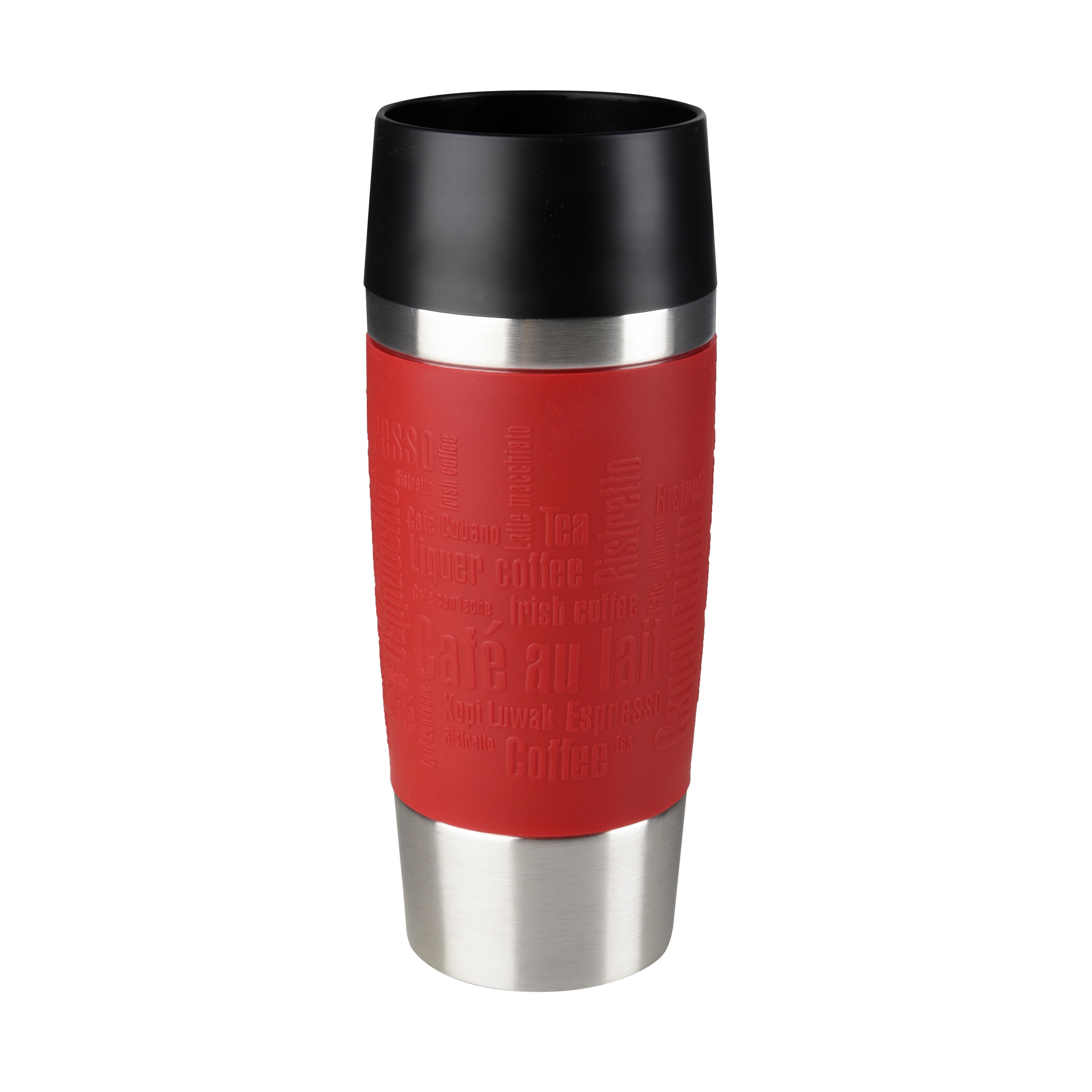 EMSA 513356 Travel Mug Thermo-/Isolierbecher, Fassungsvermögen: 0,36L, hält 4h heiß/ 8h kalt, 100% dicht, auslaufsicher, Easy Quick-Press-Verschluss, 360°-Trinköffnung, Rot