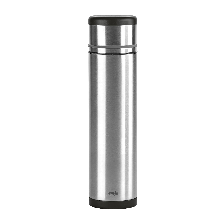 EMSA 509239 MOBILITY Isolierflasche 1,0 L Edelstahl schwarz/anthrazit - SAFE LOC-Verschluss - 100% dicht - hält 12h heiß, 24h kalt