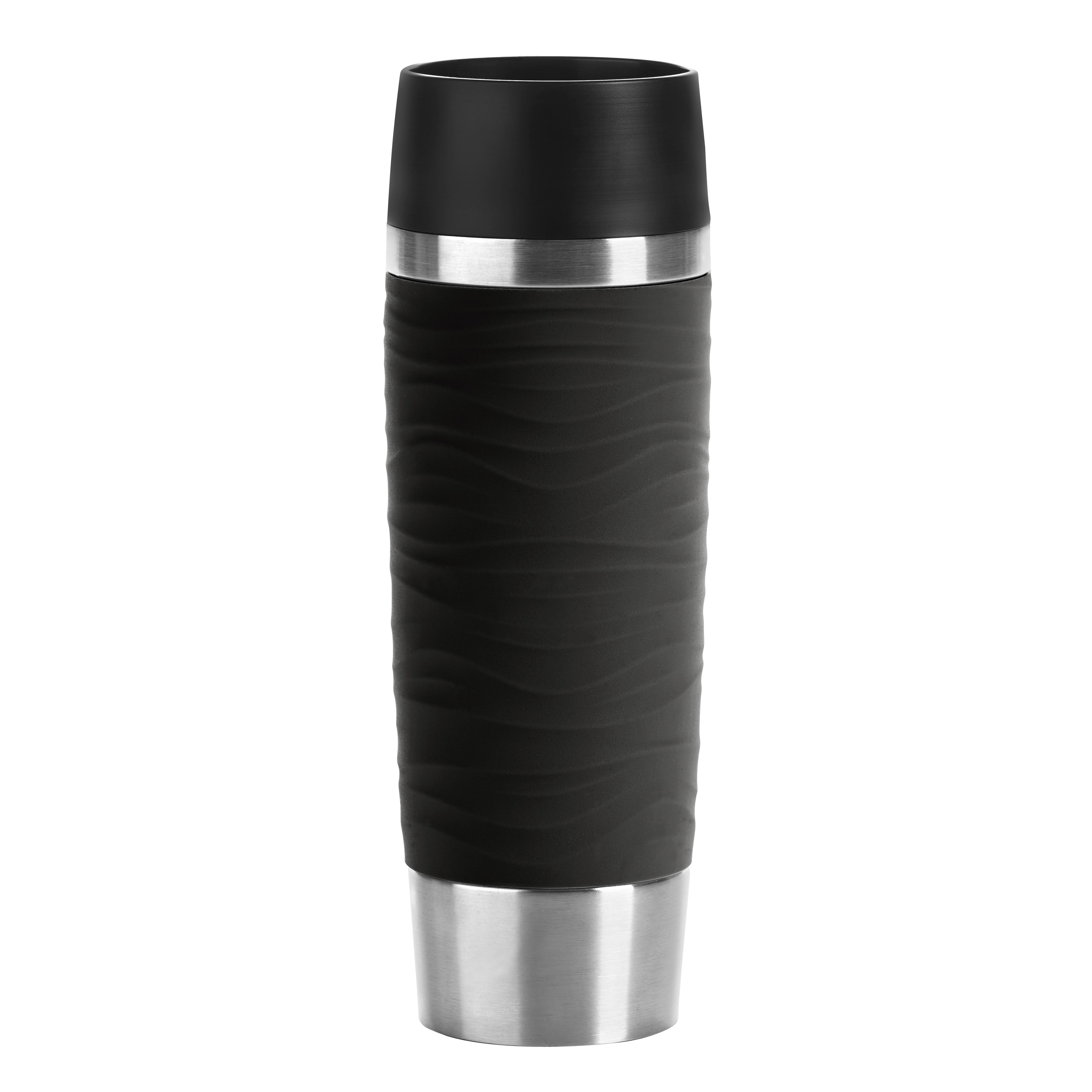 EMSA N2011900 Travel Mug Wave-Design Thermobecher/Isolierbecher (0,5 L Fassungsvermögen, hält 6h heiß/ 12h kalt, 100% dicht, auslaufsicher, Easy Quick-Press-Verschluss, 360°-Trinköffnung) Schwarz