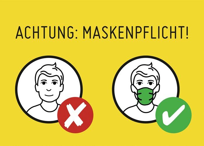 Achtung Maskenpflicht! Hintergrund gelb