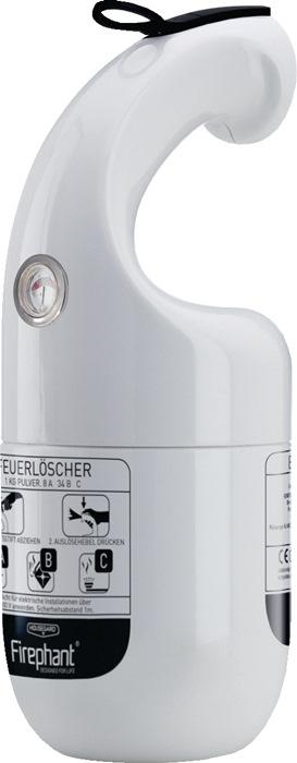 Pulverfeuerlöscher Firephant 1kg weiß