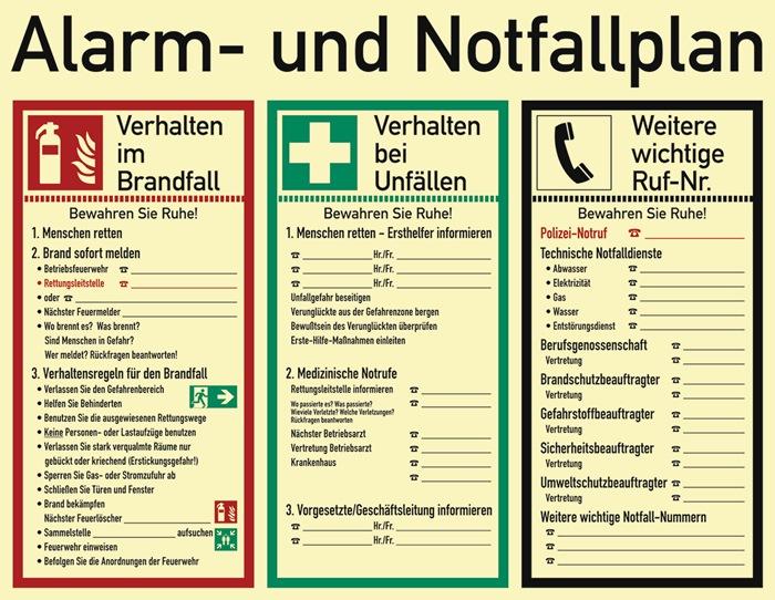 Alarm-/Notfallplan ASR A1.3/DIN EN ISO