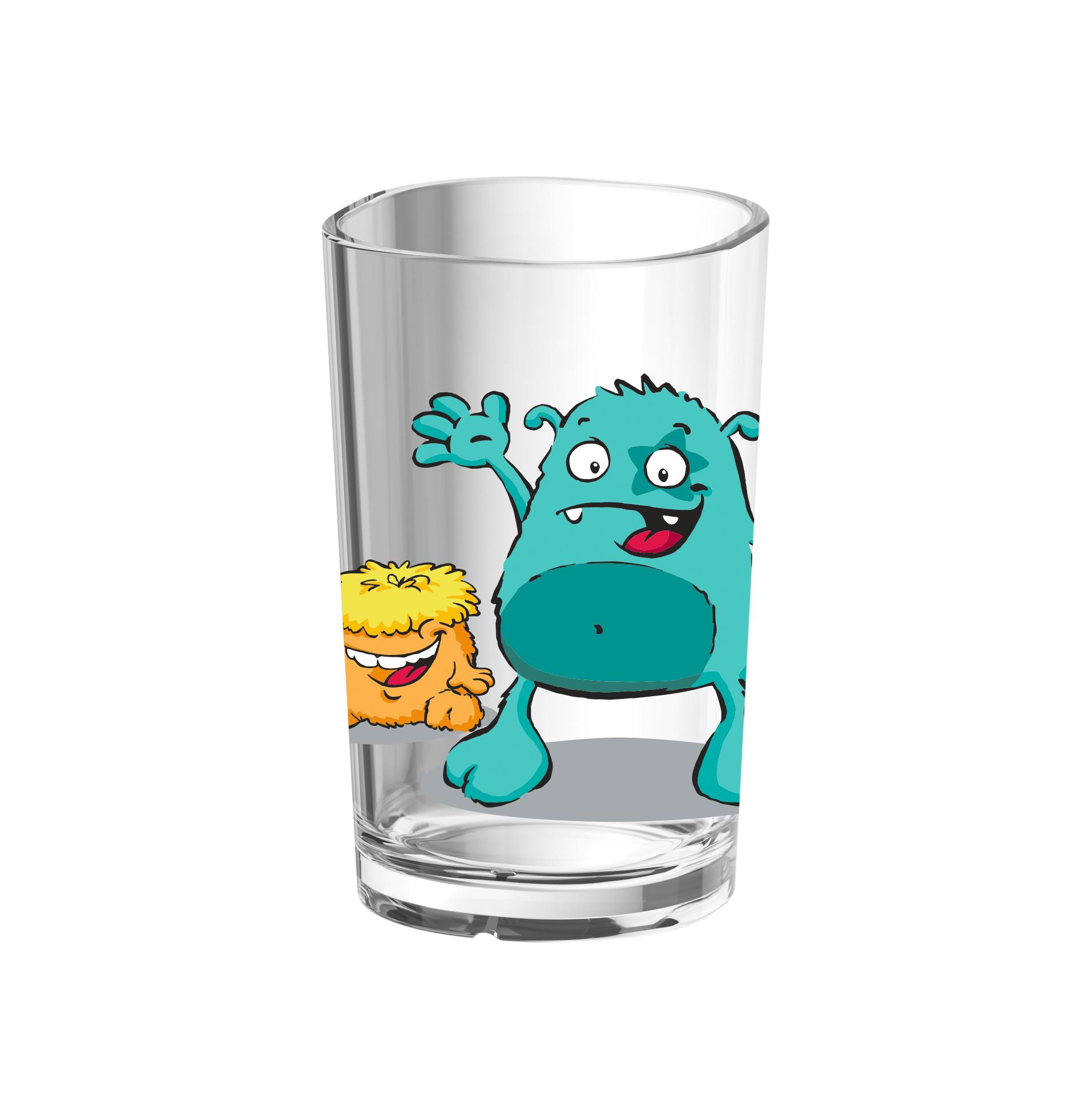 EMSA 516275 KIDS Kinderglas 0,2 L Monster - robustes Kunststofftrinkglas ohne BPA - spülmaschinenfest
