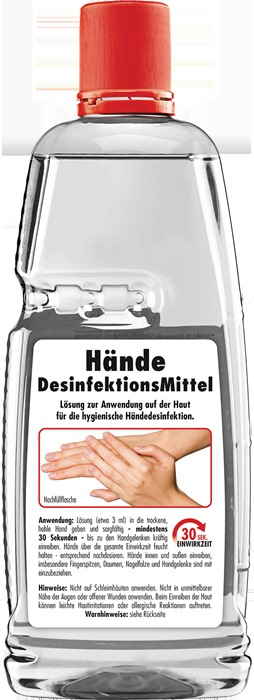 Hände-Desinfektionsmittel 1l PET Flasche