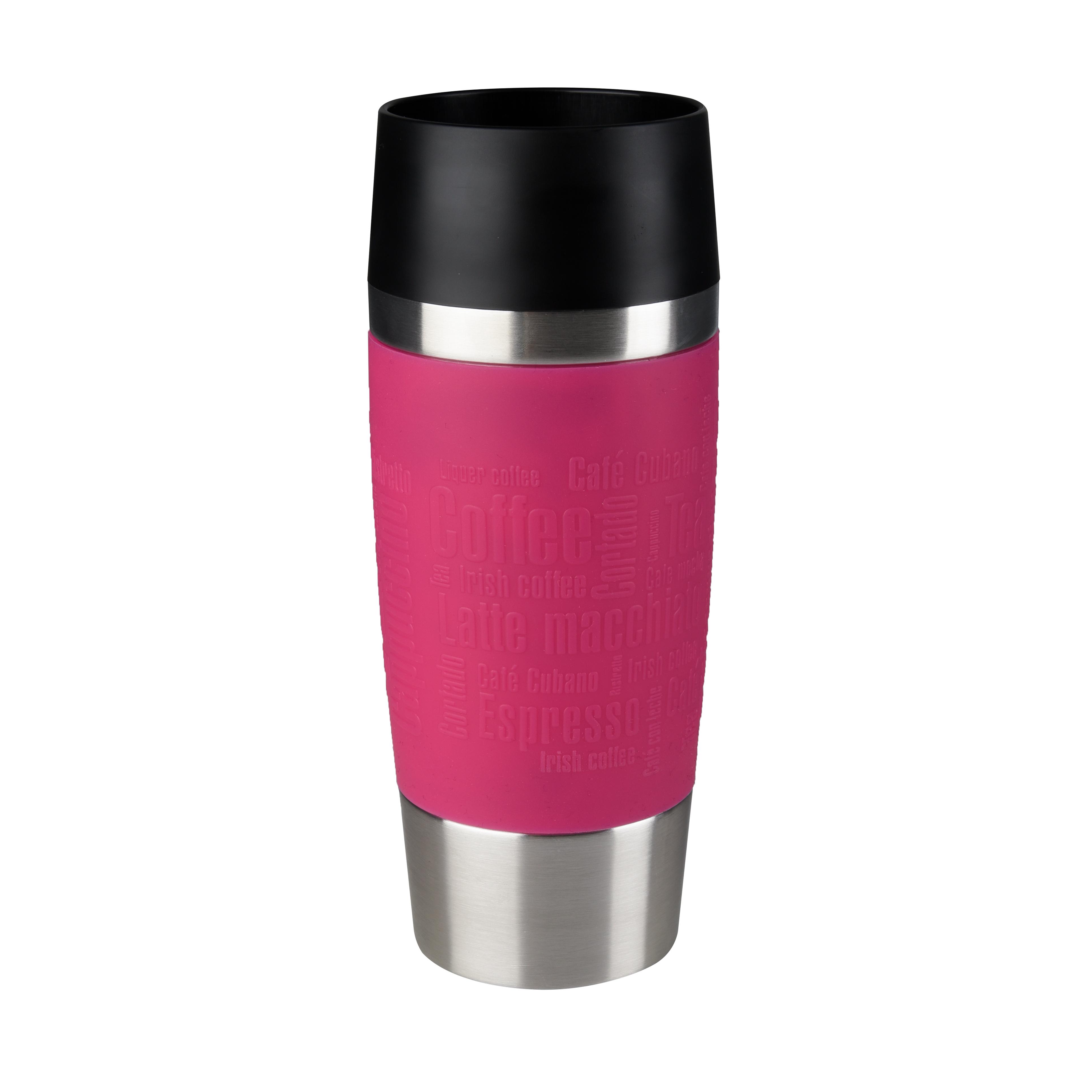 EMSA 513550 Travel Mug Thermo-/Isolierbecher, Fassungsvermögen: 0,36L, hält 4h heiß/ 8h kalt, 100% dicht, auslaufsicher, Easy Quick-Press-Verschluss, 360°-Trinköffnung, Himbeer