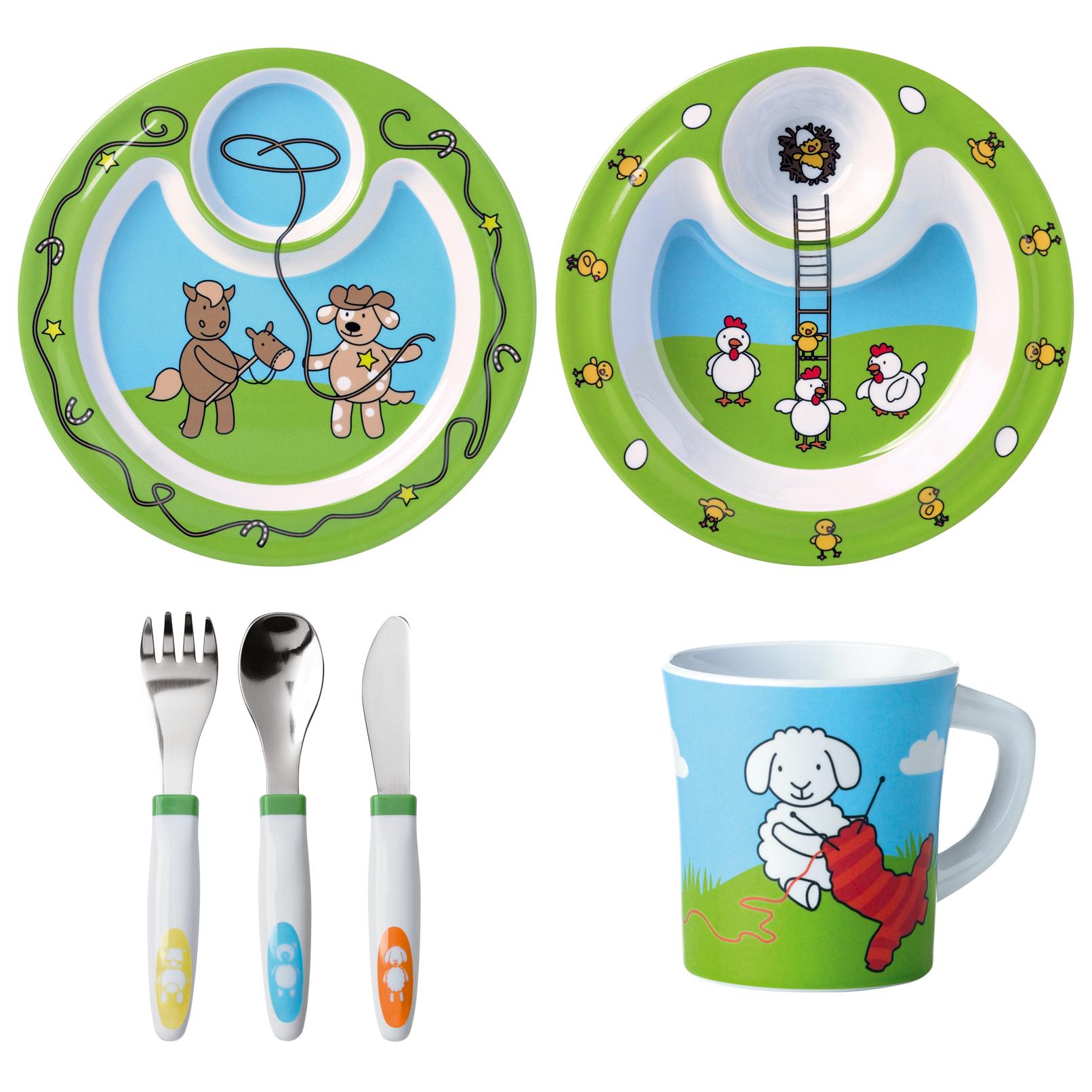 EMSA 509096 FARM FAMILY Geschenk-Set 6-teilig mit flachem Teller, tiefem Teller, 3er-Besteck und Tasse