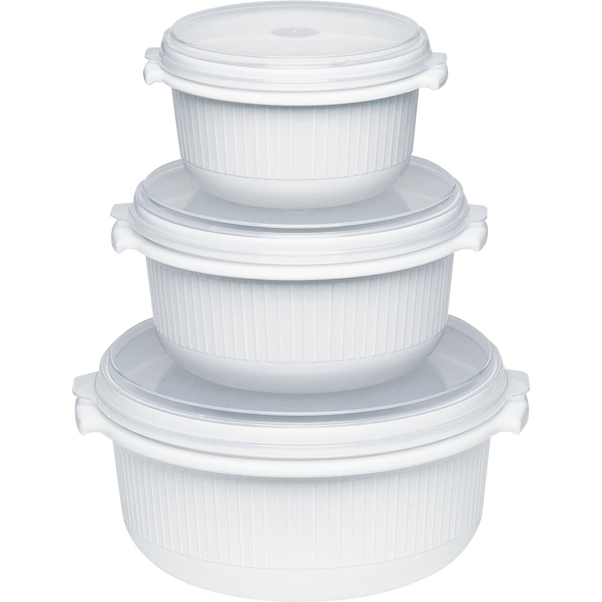 EMSA 459061200 MICRO FAMILY STARTER-SET MIKROWELLENGESCHIRR 3-teilig 0.5/1.0/1.5 L Weiß - ideale Hitzeverteilung, robust und geschmacksneutral, Mikrowellenkochen und Aufwärmen
