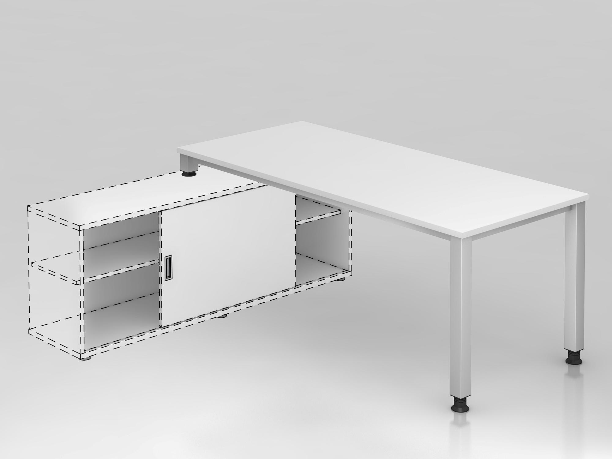 Anbauschreibtisch 4Fuß eck.180x80cm Weiß/S