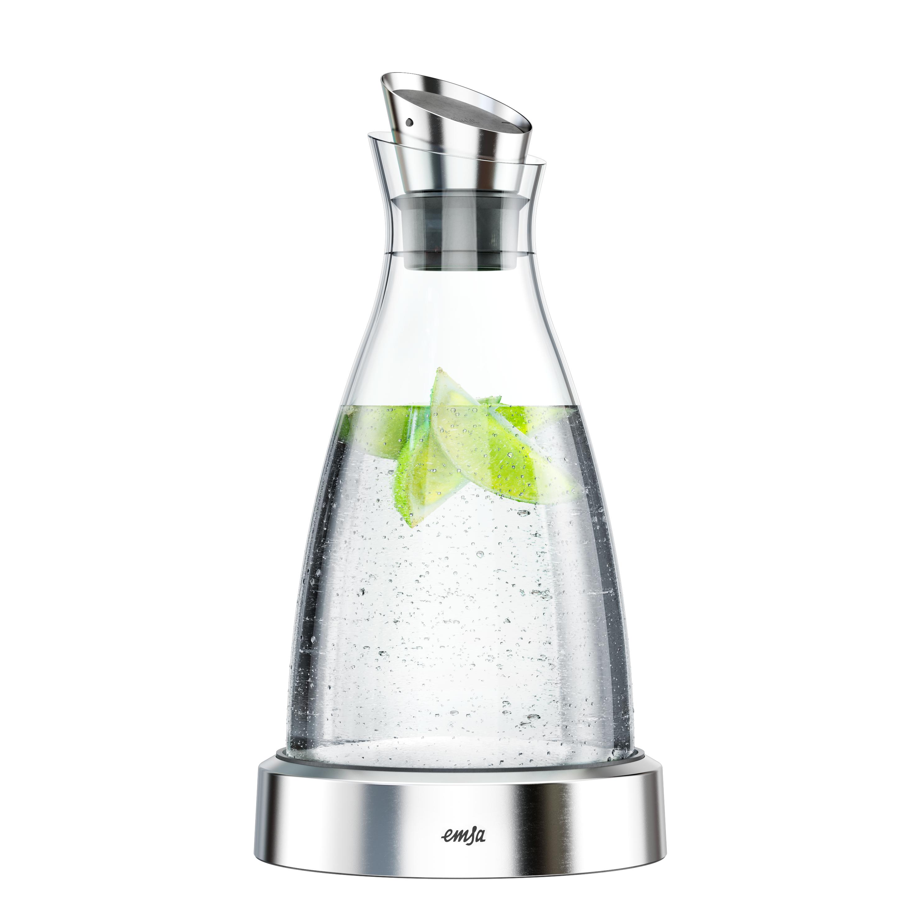 EMSA 505219 FLOW Kühlkaraffe 1,0 L aus Glas mit Edelstahl - hält 4 h kalt