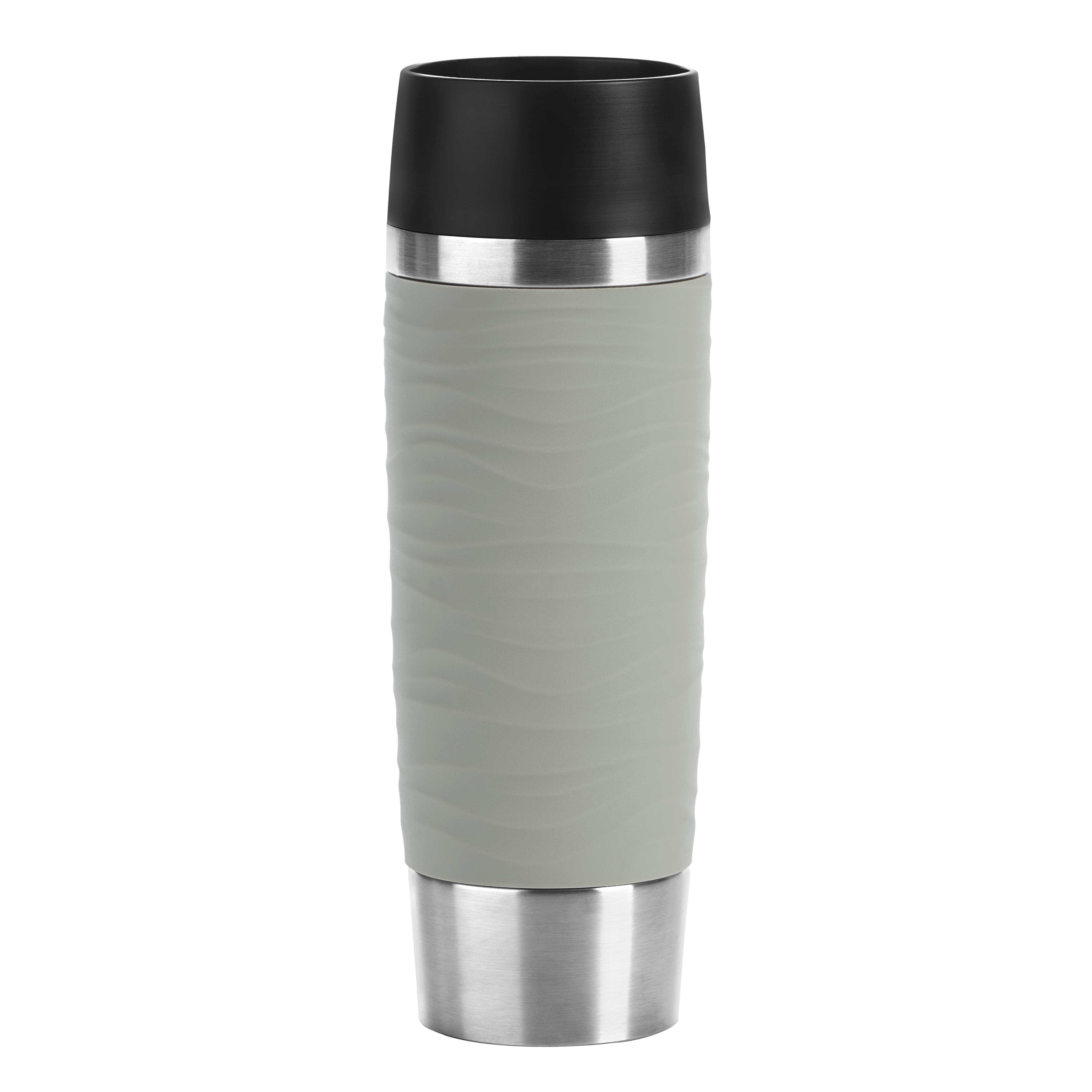 EMSA N2012200 TRAVEL MUG WAVES GRANDE Isolierbecher 0,5 L Edelstahl/Pudergrau Quick-Press-Verschluss – 100 % dicht - 6 h heiß/ 12 h kalt - spülmaschinenfest - To-go-Becher im XXL-Format