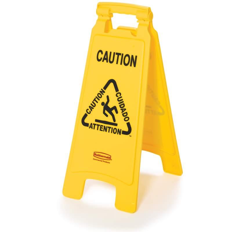 """2-seitig, Warnschild, mehrsprachig, Symbol """"Caution Wet Floor"""" (Vorsicht, Rutschgefahr!)"""