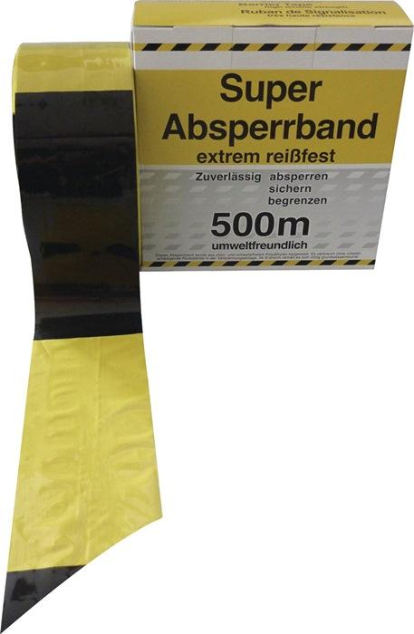 Absperrband L.500 m B.80mm gelb/schwarz