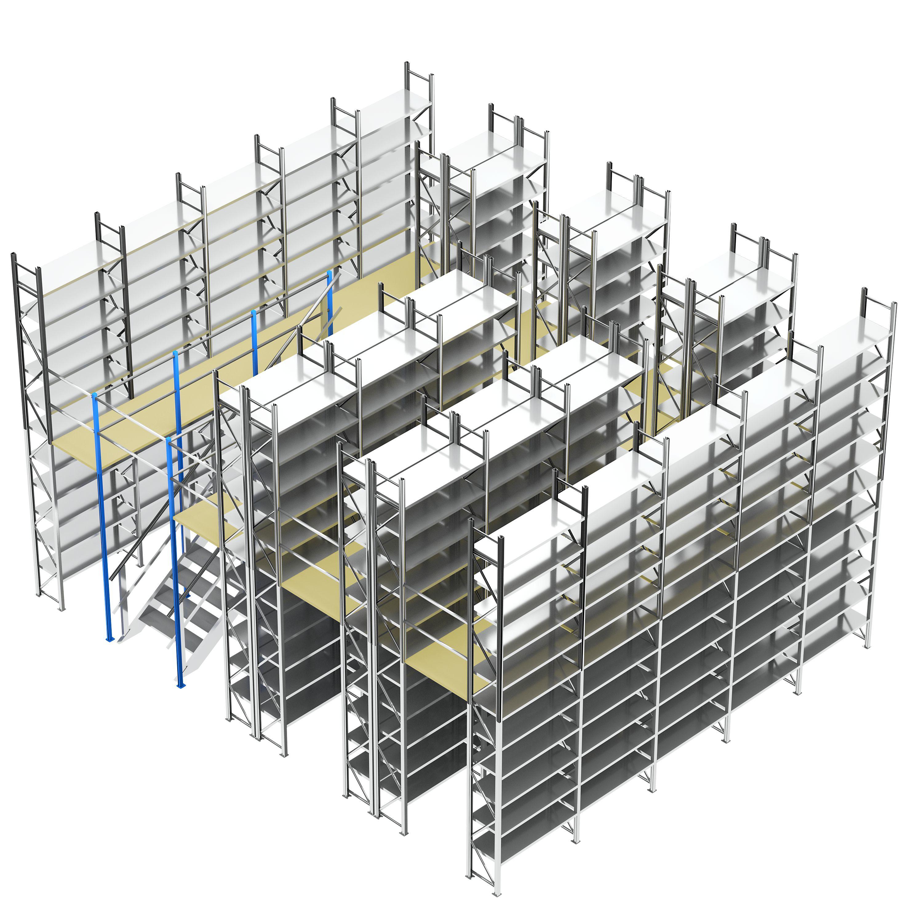 2-geschossiges Fachbodenregal mit 310 Fachböden