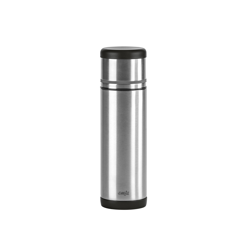 EMSA 509237 MOBILITY Isolierflasche 0,5 L Edelstahl schwarz/anthrazit - SAFE LOC-Verschluss - 100% dicht - hält 12h heiß, 24h kalt