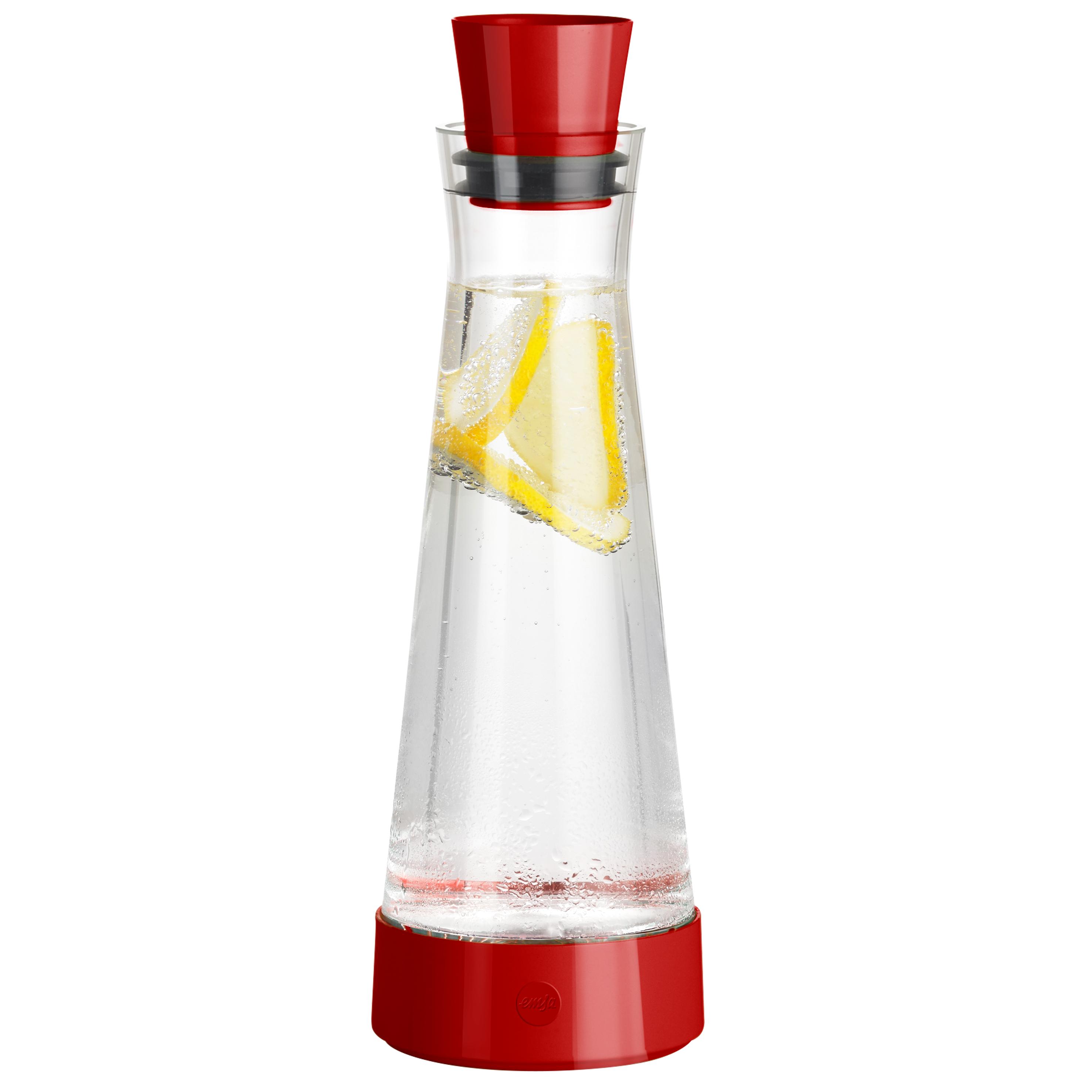 EMSA 515476 FLOW SLIM FRIENDS Glas-Kühlkaraffe 1,0 L Rot
