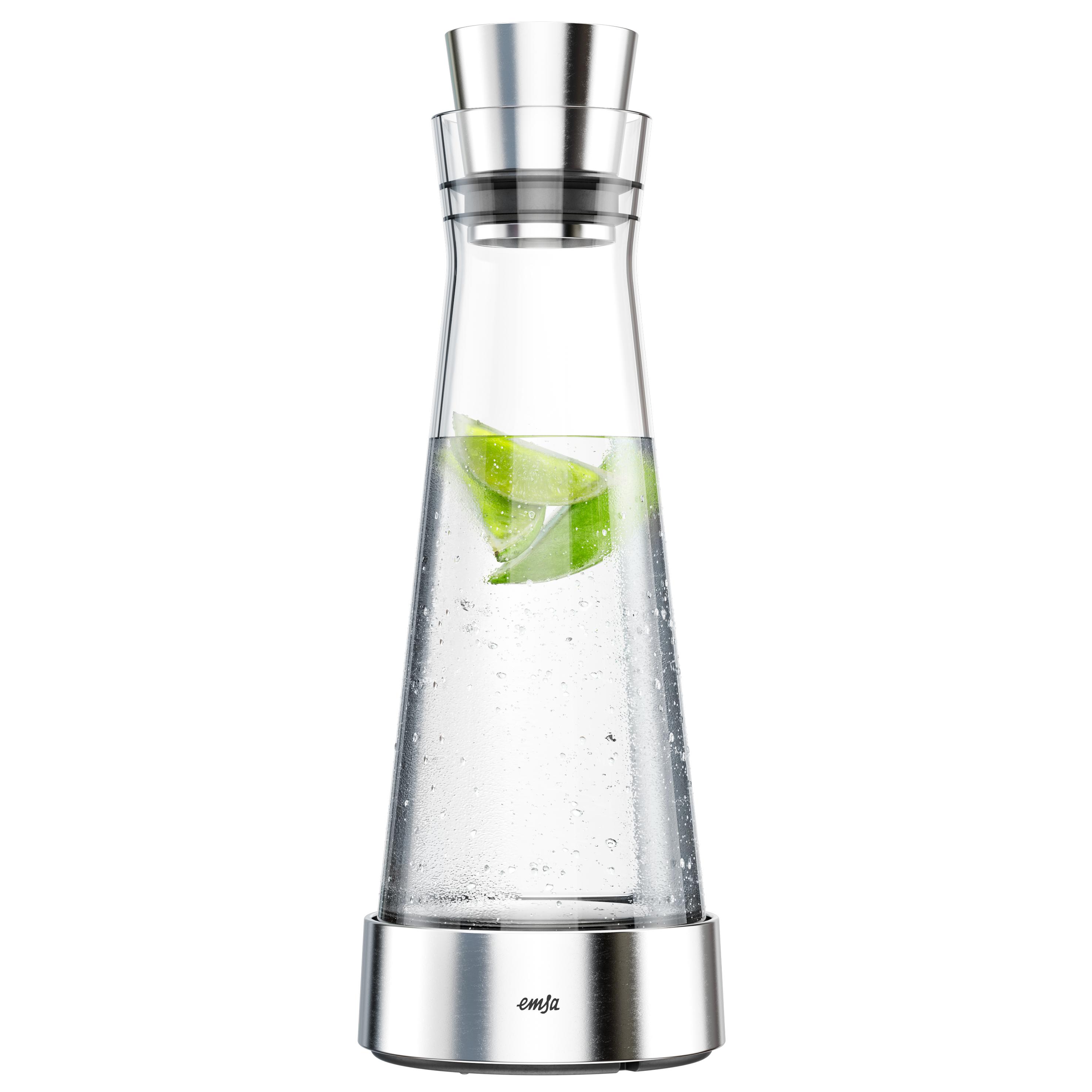 EMSA 514233 FLOW SLIM Kühlkaraffe 1,0 L aus Glas mit Edelstahl - hält 4 h kalt