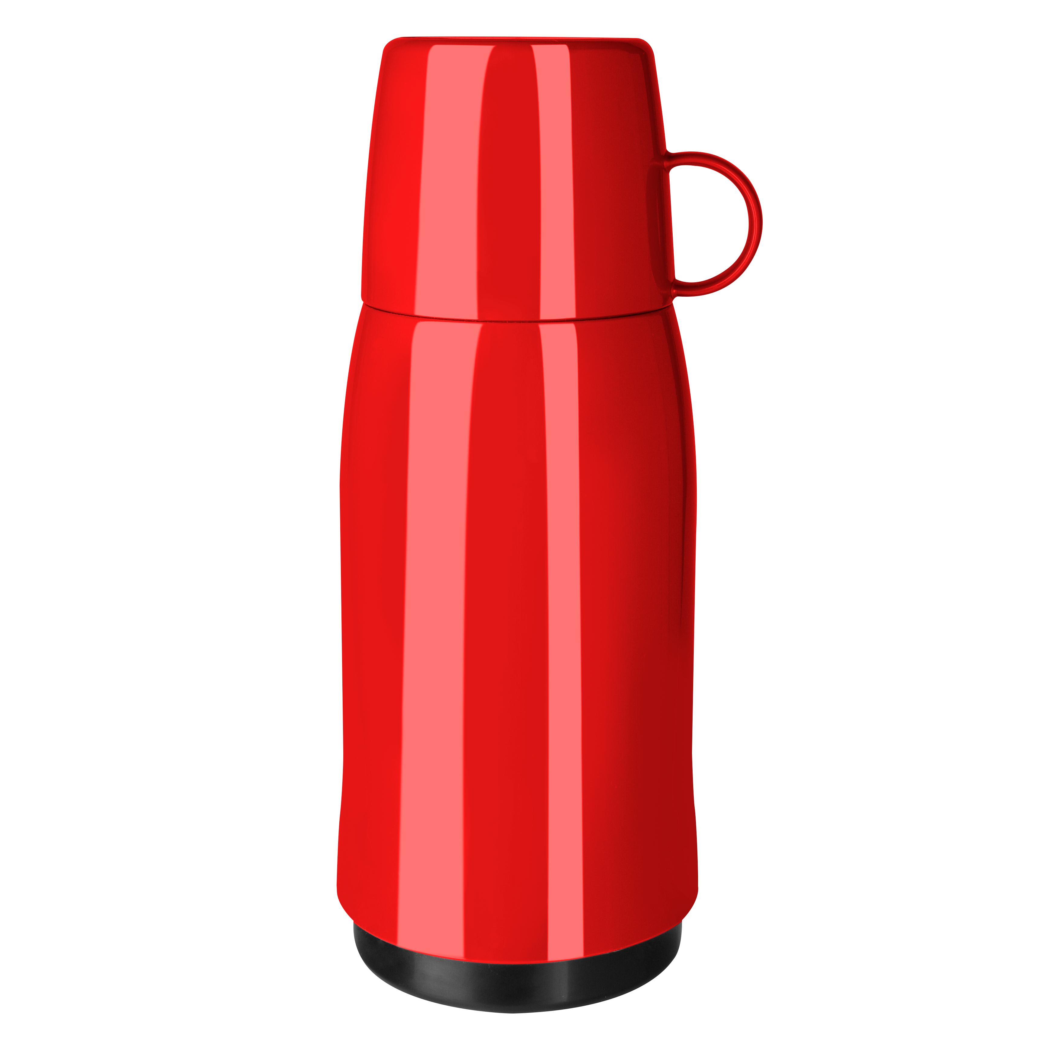 EMSA 502444 ROCKET Isolierflasche 0,5 L Schraubverschluss Rot - mit Becherdeckel - 100% dicht