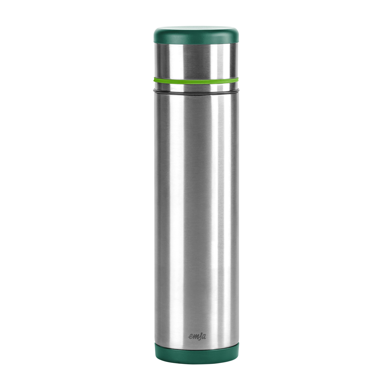 EMSA 512961 MOBILITY Isolierflasche 1,0 L Edelstahl grün/hellgrün - SAFE LOC-Verschluss - 100% dicht - hält 12h heiß, 24h kalt