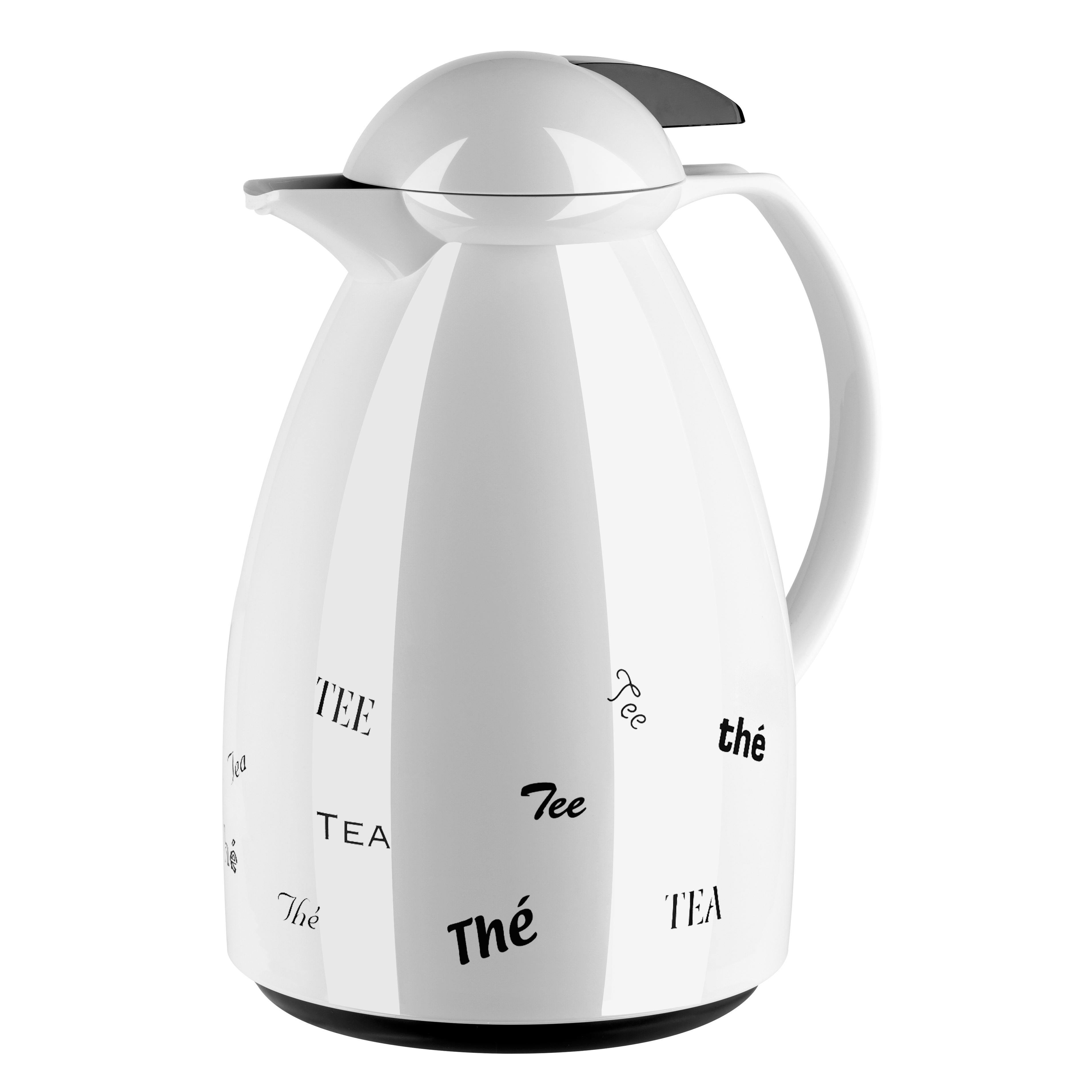EMSA 501528 TANGO Isolierkanne 1,0 L Kunststoff weiß Tee - made in Germany - 12h Heißhaltung - Einhandbedienung dank Quick Tip Verschluss