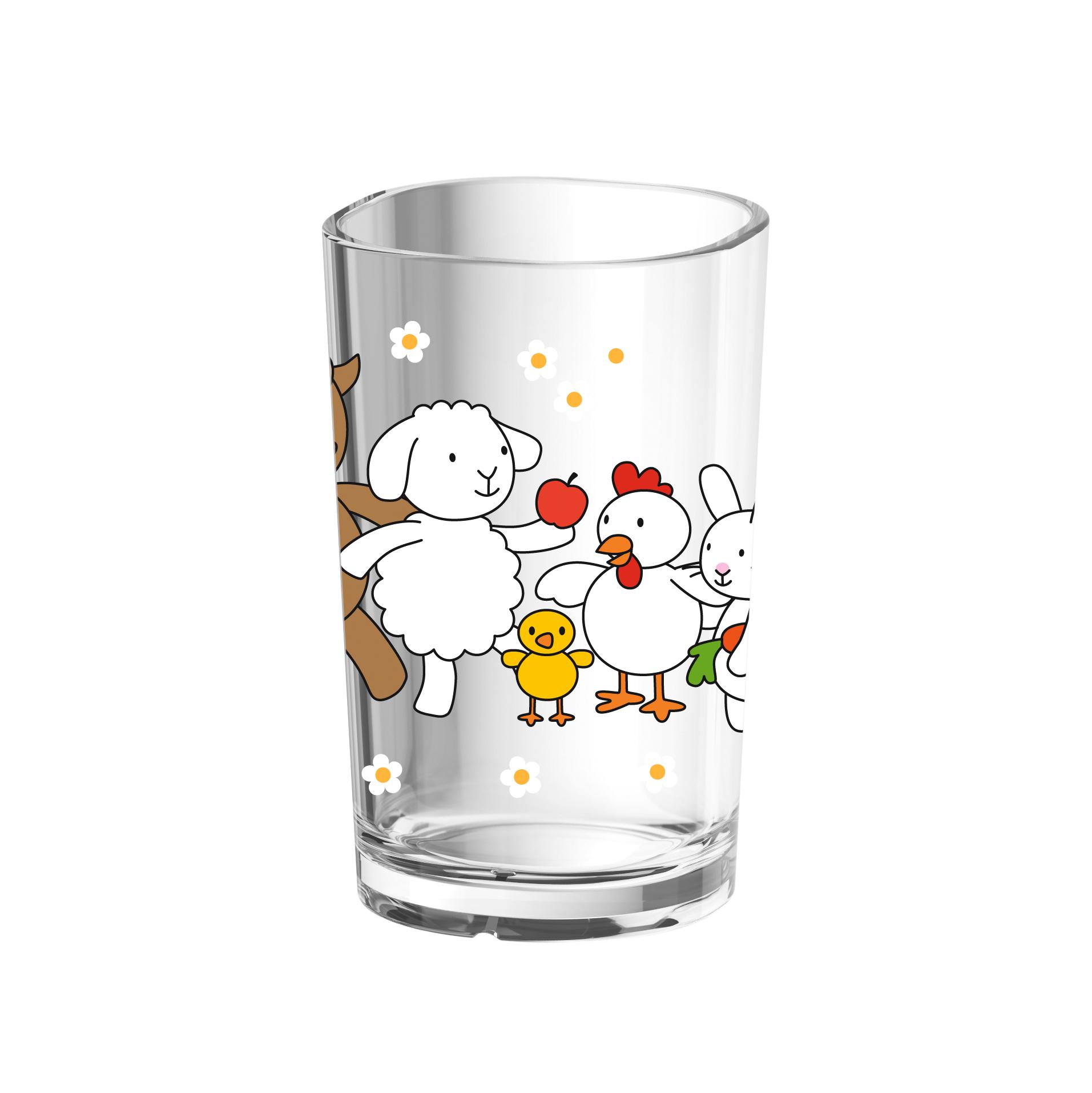 EMSA 513720 KIDS Kinderglas 0,2 L Farm Family - robustes Kunststofftrinkglas ohne BPA - spülmaschinenfest
