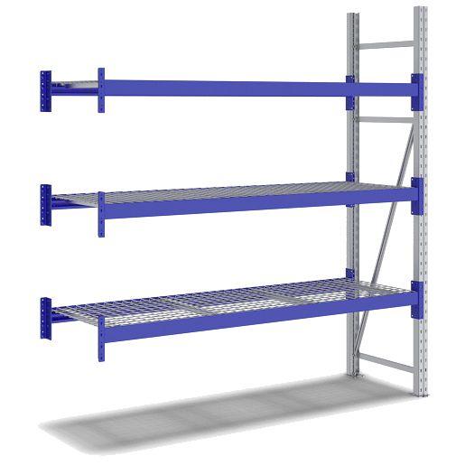 Weitspannregal Set / F2 2000x 600x1800 Anbaufeld 3Ebenen Gitterböden  RAL5010