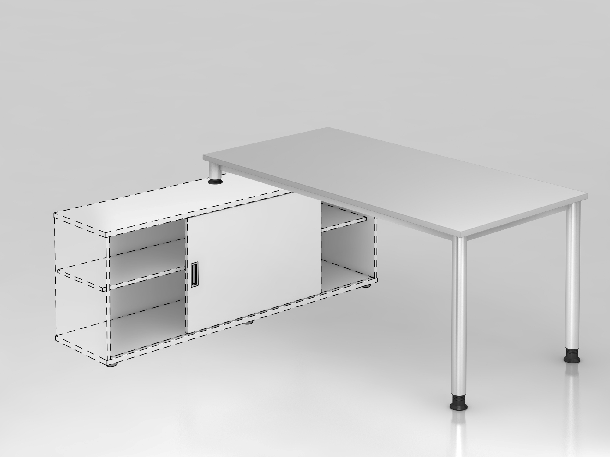 Anbauschreibtisch 4Fuß-rd.160x80cm Grau/Silb