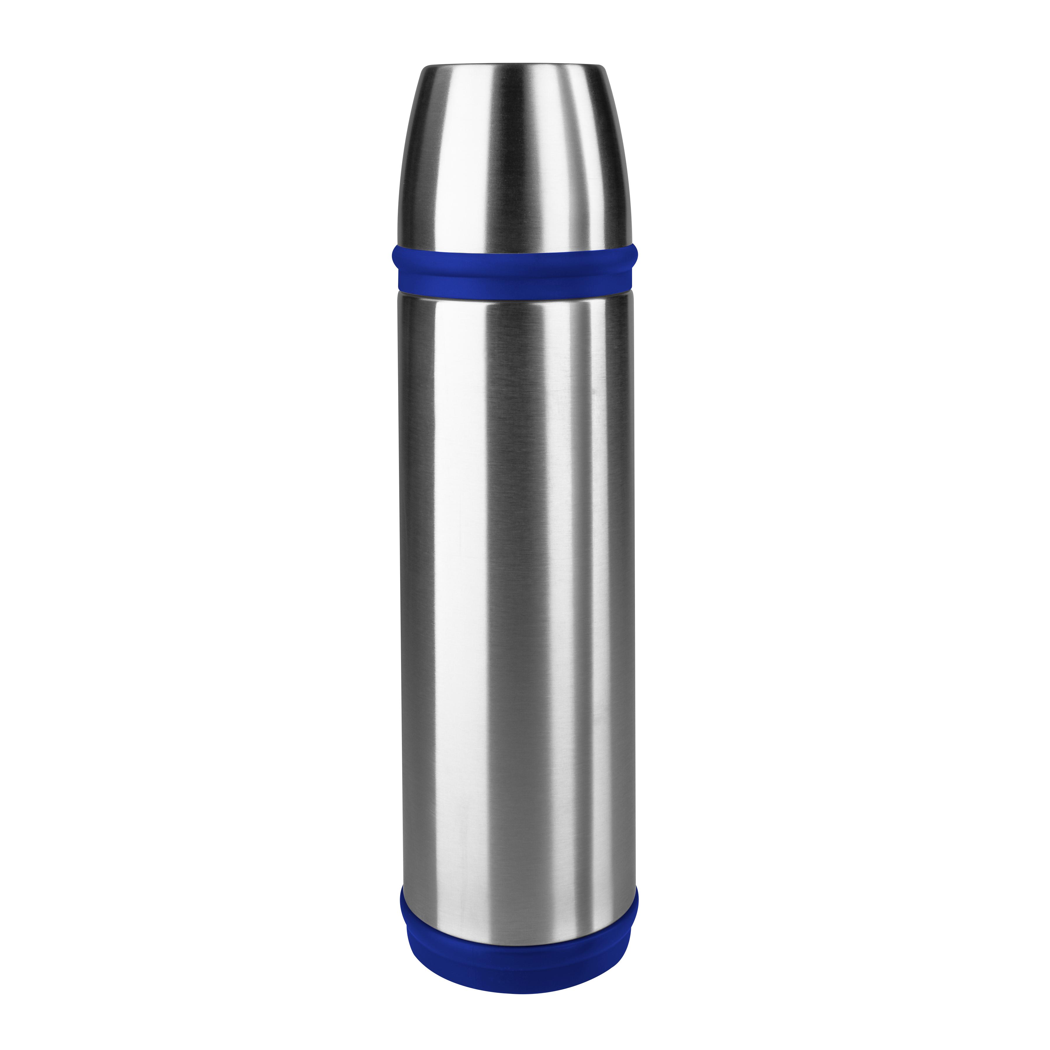 EMSA 502474 CAPTAIN ISOLIERFLASCHE 1,0 L Edelstahl/blau 100 % dicht - hält 12 h heiß und 24 h kalt - mit Trinkbecher